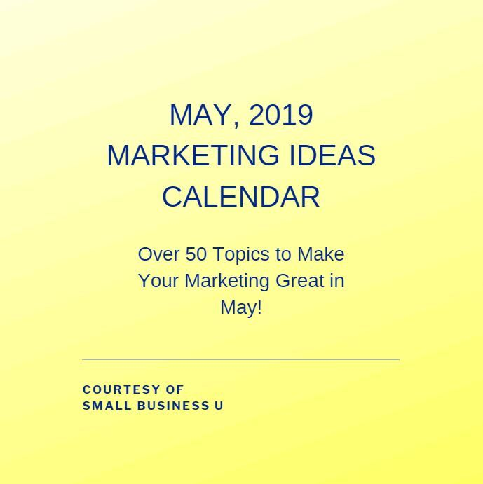 MAY 2019 MARKETING IDEAS CALENDAR